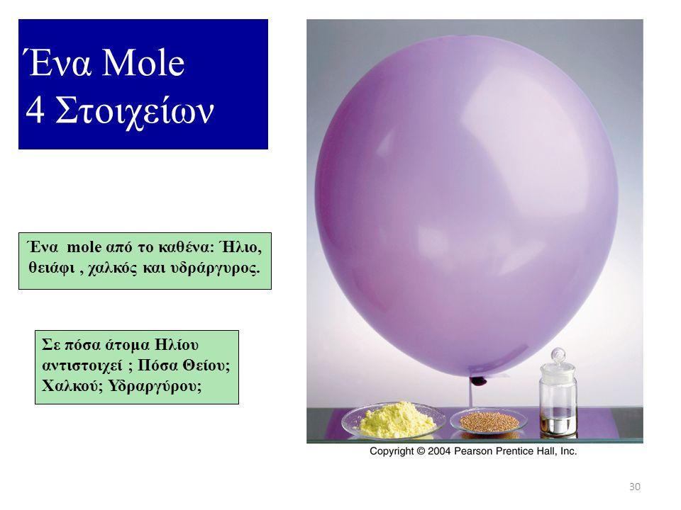 Ένα mole από το καθένα: Ήλιο, θειάφι , χαλκός και υδράργυρος.