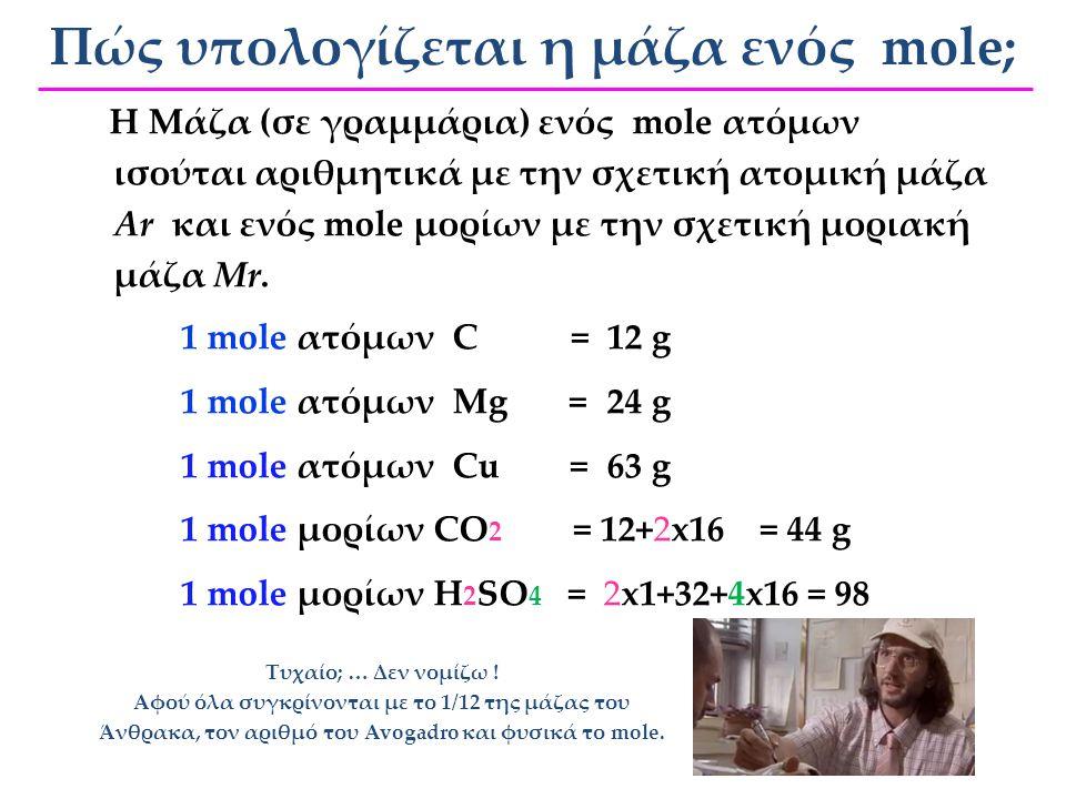 Πώς υπολογίζεται η μάζα ενός mole;