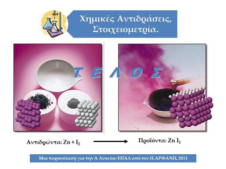 Τ Ε Λ Ο Σ Προϊόντα: Zn I2 Αντιδρώντα: Zn + I2