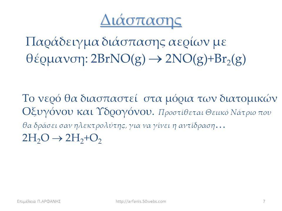 Διάσπασης Παράδειγμα διάσπασης αερίων με θέρμανση: 2BrNO(g)  2NO(g)+Br2(g)