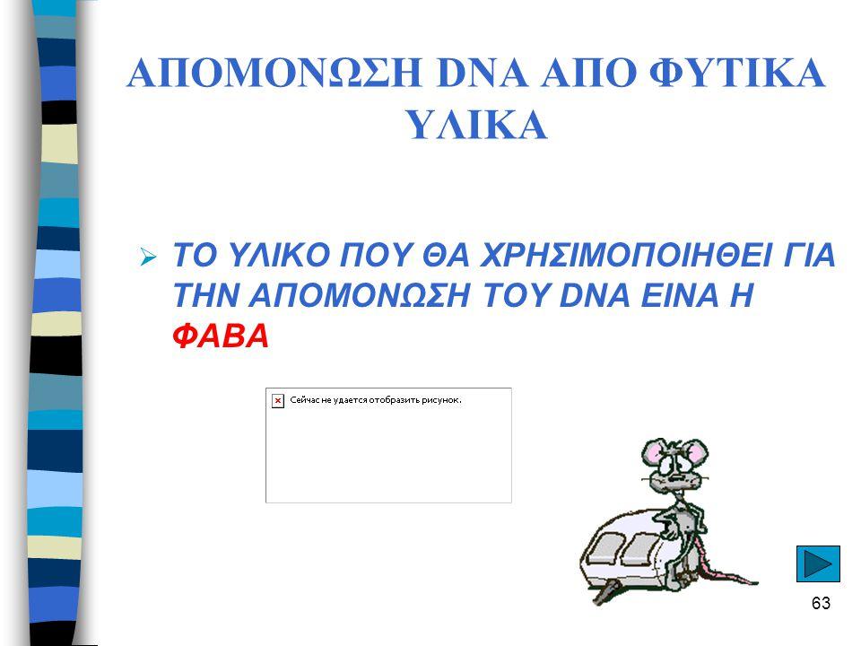 ΑΠΟΜΟΝΩΣΗ DNA ΑΠΟ ΦΥΤΙΚΑ ΥΛΙΚΑ