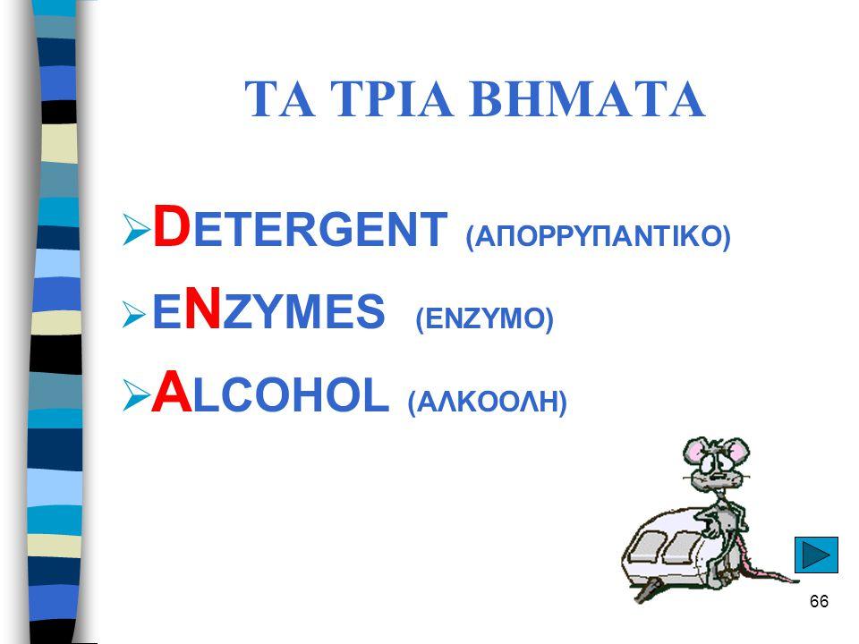 DETERGENT (ΑΠΟΡΡΥΠΑΝΤΙΚΟ) ALCOHOL (ΑΛΚΟΟΛΗ)