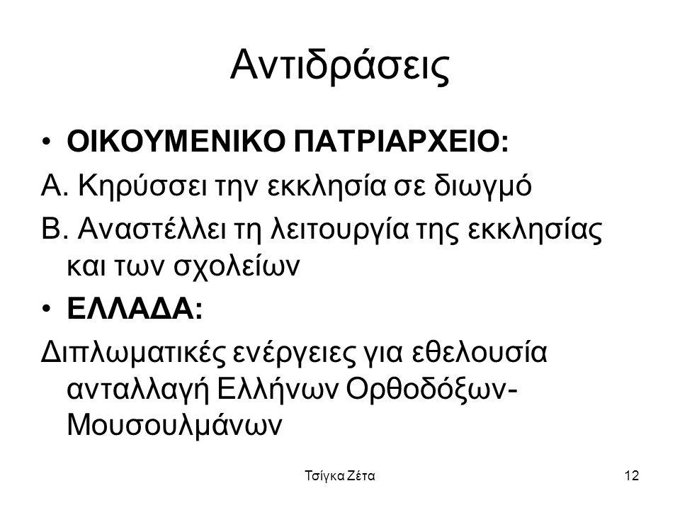 Αντιδράσεις ΟΙΚΟΥΜΕΝΙΚΟ ΠΑΤΡΙΑΡΧΕΙΟ: