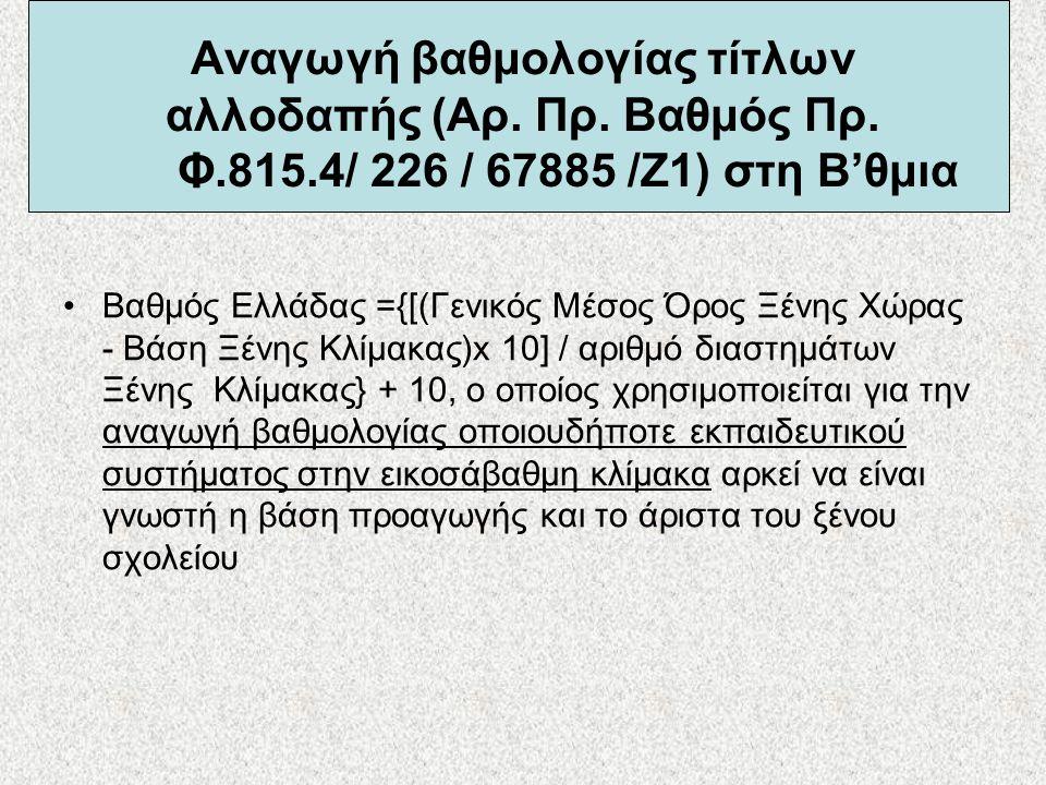 Αναγωγή βαθμολογίας τίτλων αλλοδαπής (Αρ. Πρ. Βαθμός Πρ. Φ. 815