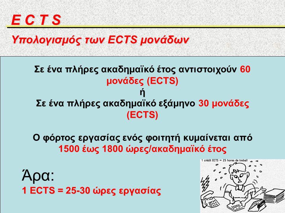 Σε ένα πλήρες ακαδημαϊκό έτος αντιστοιχούν 60 μονάδες (ECTS)