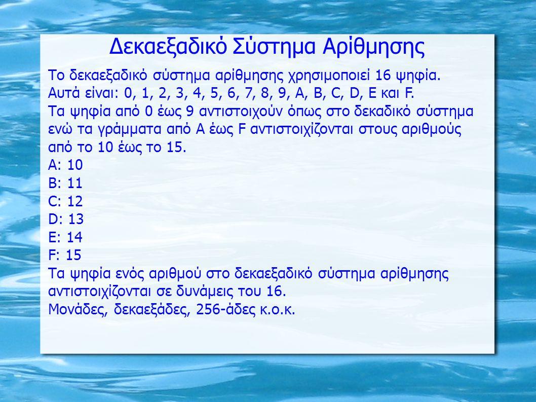 Δεκαεξαδικό Σύστημα Αρίθμησης