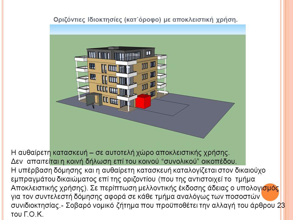 Οριζόντιες Ιδιοκτησίες (κατ΄όροφο) με αποκλειστική χρήση.