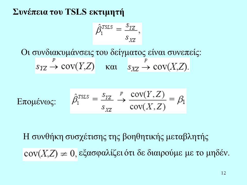 Συνέπεια του TSLS εκτιμητή