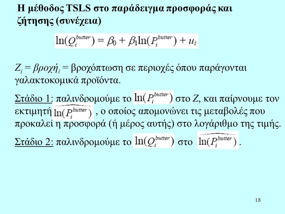Η μέθοδος TSLS στο παράδειγμα προσφοράς και ζήτησης (συνέχεια)