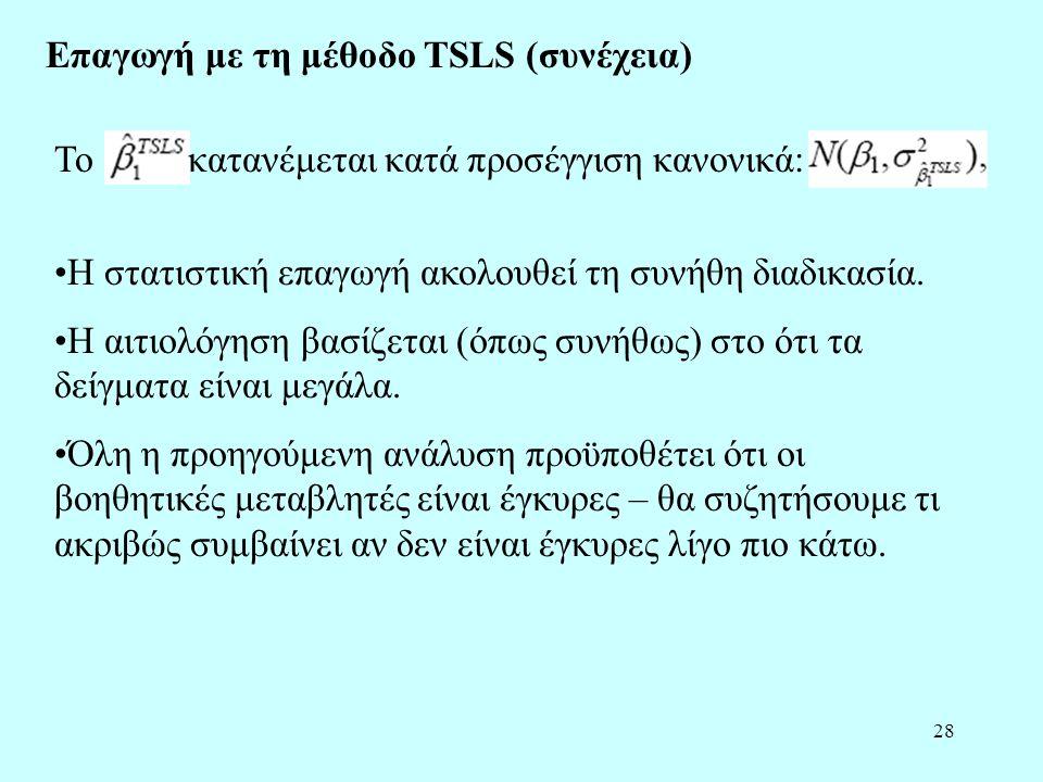 Επαγωγή με τη μέθοδο TSLS (συνέχεια)