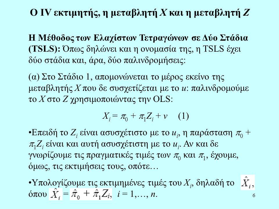 Ο IV εκτιμητής, η μεταβλητή X και η μεταβλητή Z