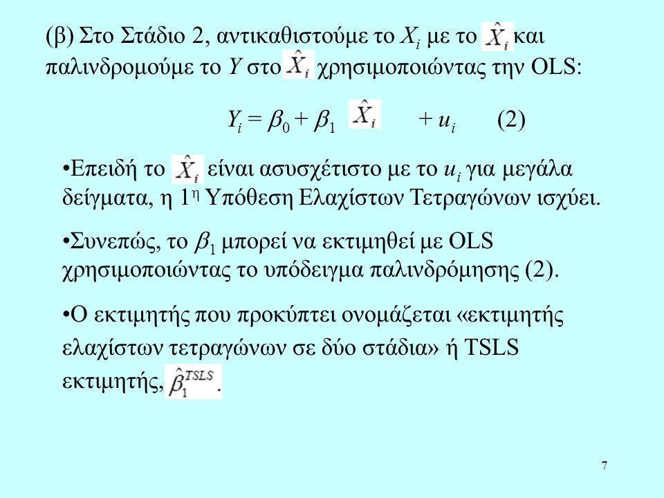 (β) Στο Στάδιο 2, αντικαθιστούμε το Xi με το και παλινδρομούμε το Y στο χρησιμοποιώντας την OLS: