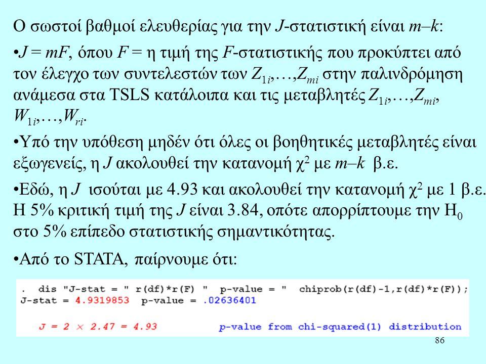 Ο σωστοί βαθμοί ελευθερίας για την J-στατιστική είναι m–k: