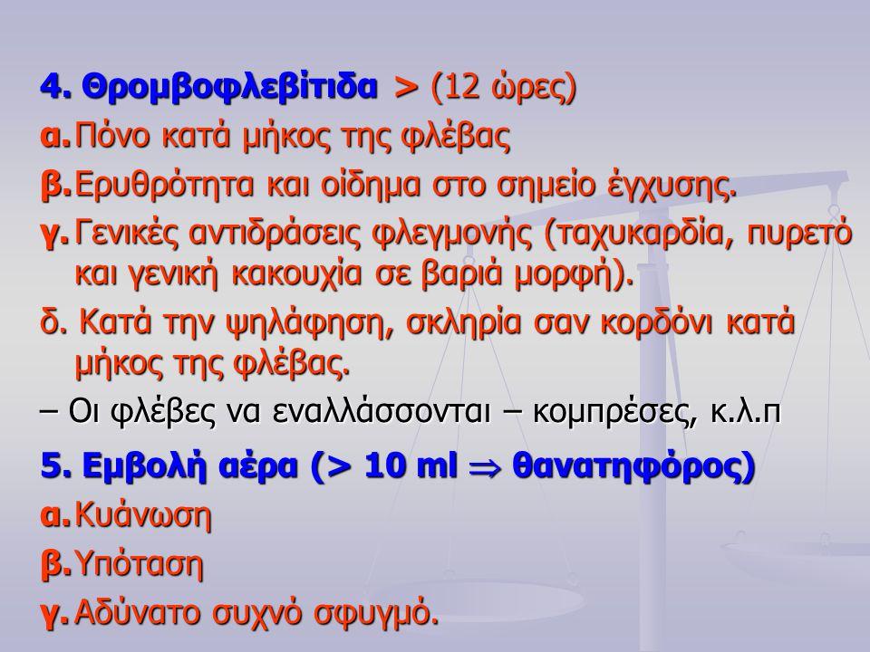 4. Θρομβοφλεβίτιδα > (12 ώρες)