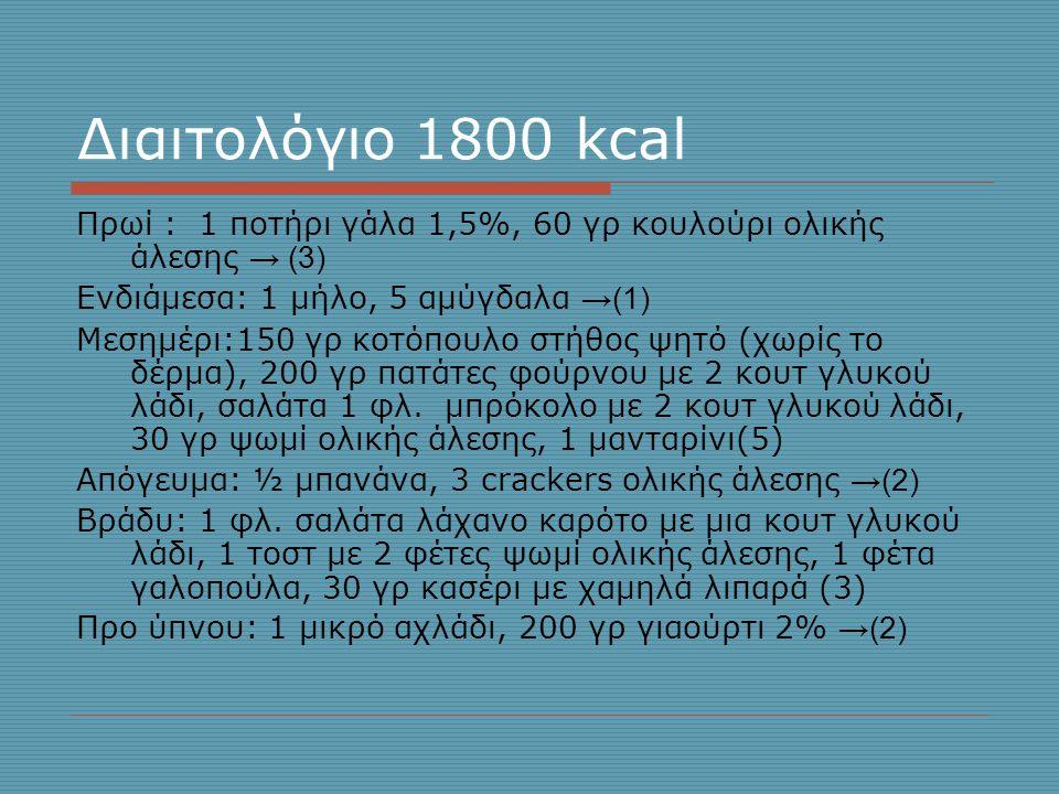 Διαιτολόγιο 1800 kcal Πρωί : 1 ποτήρι γάλα 1,5%, 60 γρ κουλούρι ολικής άλεσης → (3) Ενδιάμεσα: 1 μήλο, 5 αμύγδαλα →(1)