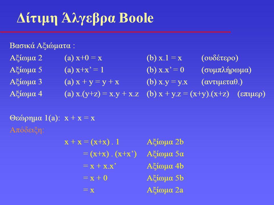 Δίτιμη Άλγεβρα Boole Βασικά Αξιώματα :