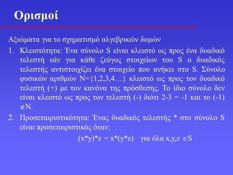 Ορισμοί Αξιώματα για το σχηματισμό αλγεβρικών δομών