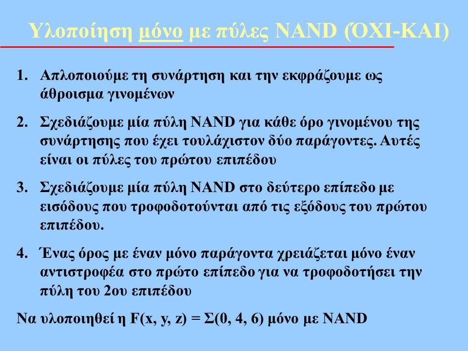 Υλοποίηση μόνο με πύλες NAND (ΌΧΙ-ΚΑΙ)