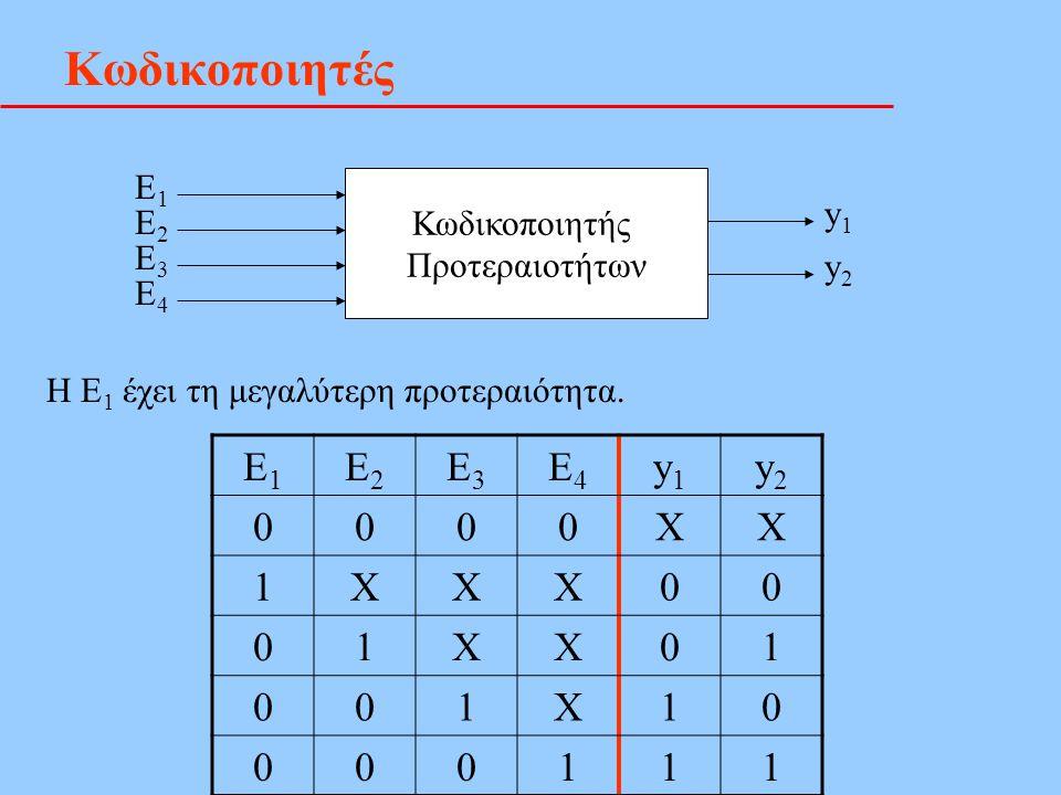 Κωδικοποιητές Ε1 Ε2 Ε3 Ε4 y1 y2 X 1 Ε1 Κωδικοποιητής y1 Ε2