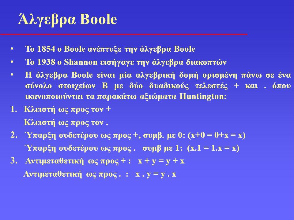 Άλγεβρα Boole To 1854 o Boole ανέπτυξε την άλγεβρα Boole