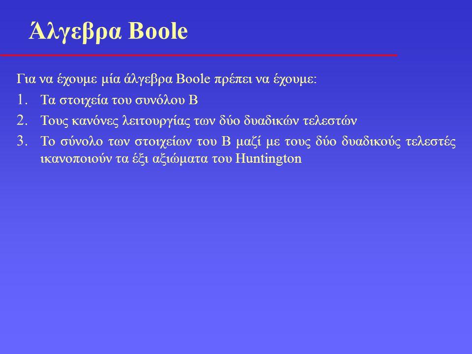 Άλγεβρα Boole Για να έχουμε μία άλγεβρα Boole πρέπει να έχουμε: