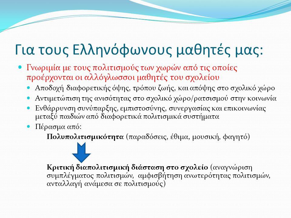 Για τους Ελληνόφωνους μαθητές μας: