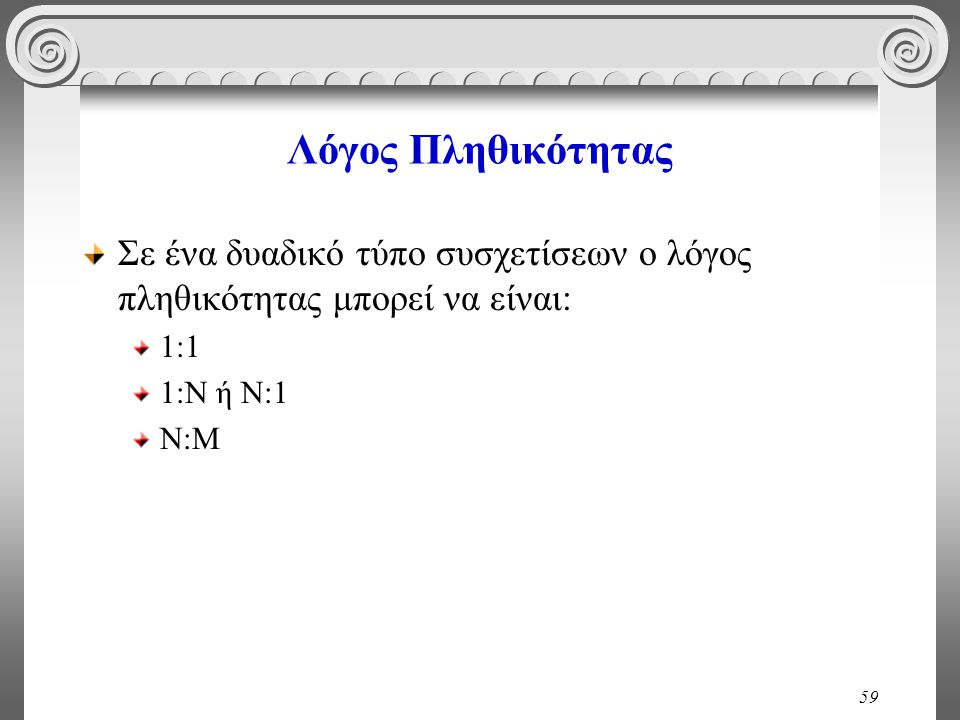 Λόγος Πληθικότητας Σε ένα δυαδικό τύπο συσχετίσεων ο λόγος πληθικότητας μπορεί να είναι: 1:1. 1:Ν ή Ν:1.