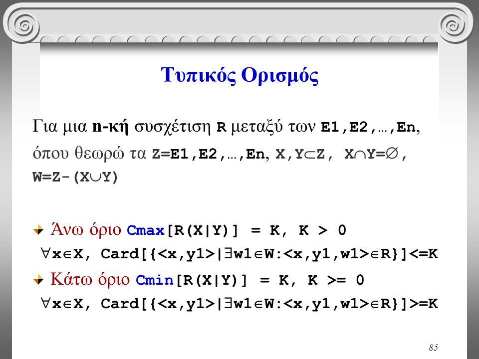 Τυπικός Ορισμός Για μια n-κή συσχέτιση R μεταξύ των E1,E2,…,En,