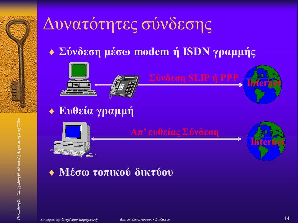 Δυνατότητες σύνδεσης Σύνδεση μέσω modem ή ISDN γραμμής Ευθεία γραμμή