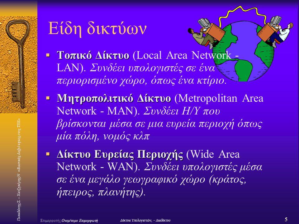 Είδη δικτύων Τοπικό Δίκτυο (Local Area Network - LAN). Συνδέει υπολογιστές σε ένα περιορισμένο χώρο, όπως ένα κτίριο.