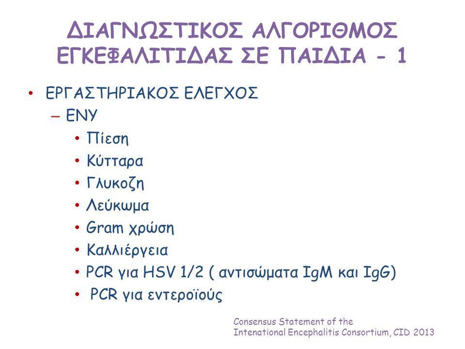 ΔΙΑΓΝΩΣΤΙΚΟΣ ΑΛΓΟΡΙΘΜΟΣ ΕΓΚΕΦΑΛΙΤΙΔΑΣ ΣΕ ΠΑΙΔΙΑ - 1