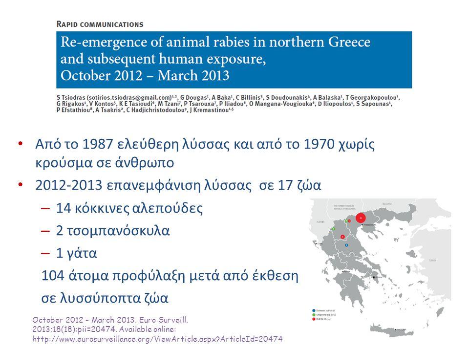 Από το 1987 ελεύθερη λύσσας και από το 1970 χωρίς κρούσμα σε άνθρωπο