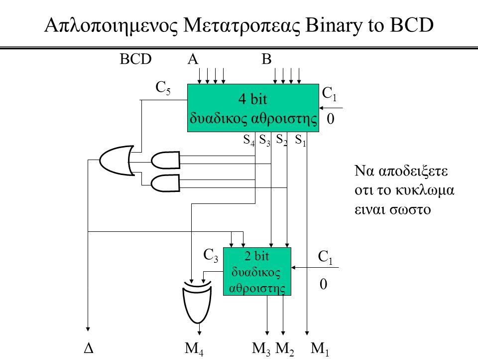 Απλοποιημενος Μετατροπεας Binary to BCD