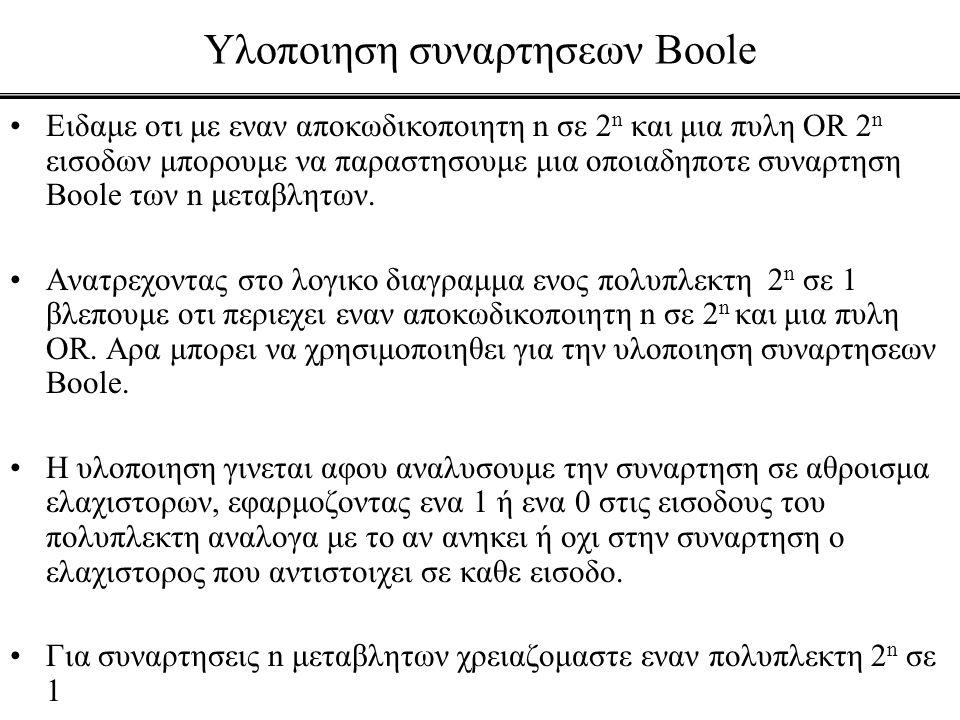 Υλοποιηση συναρτησεων Boole