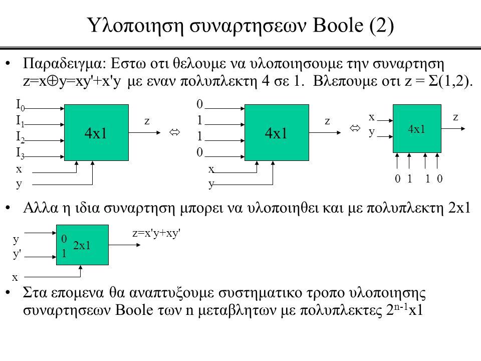 Υλοποιηση συναρτησεων Boole (2)
