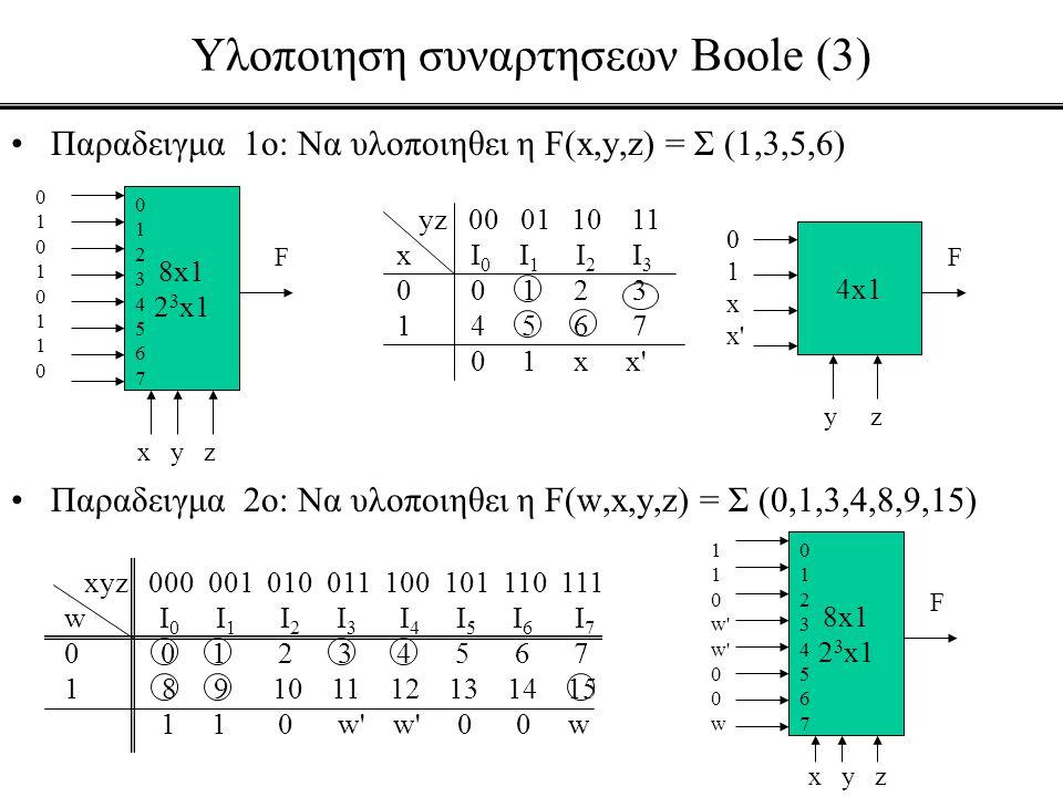 Υλοποιηση συναρτησεων Boole (3)