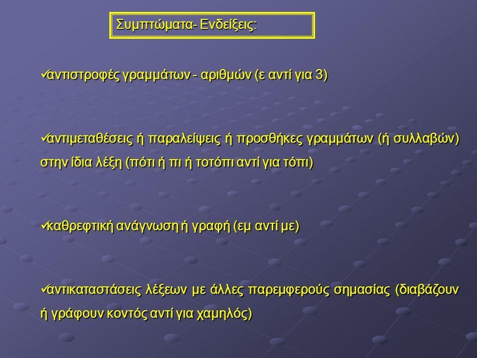 Συμπτώματα- Ενδείξεις: