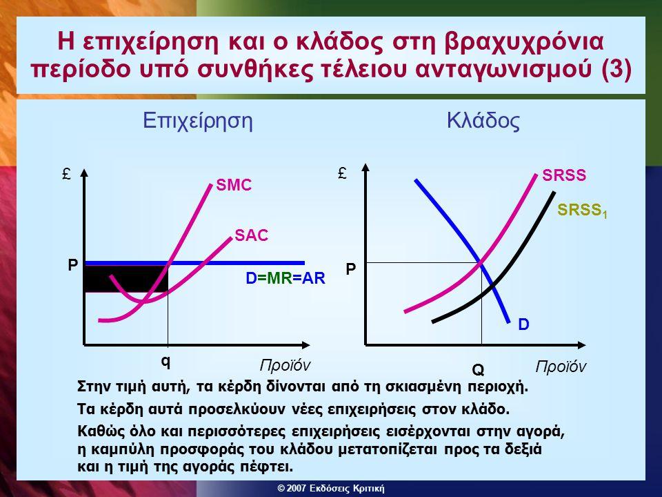 Η επιχείρηση και ο κλάδος στη βραχυχρόνια περίοδο υπό συνθήκες τέλειου ανταγωνισμού (3)