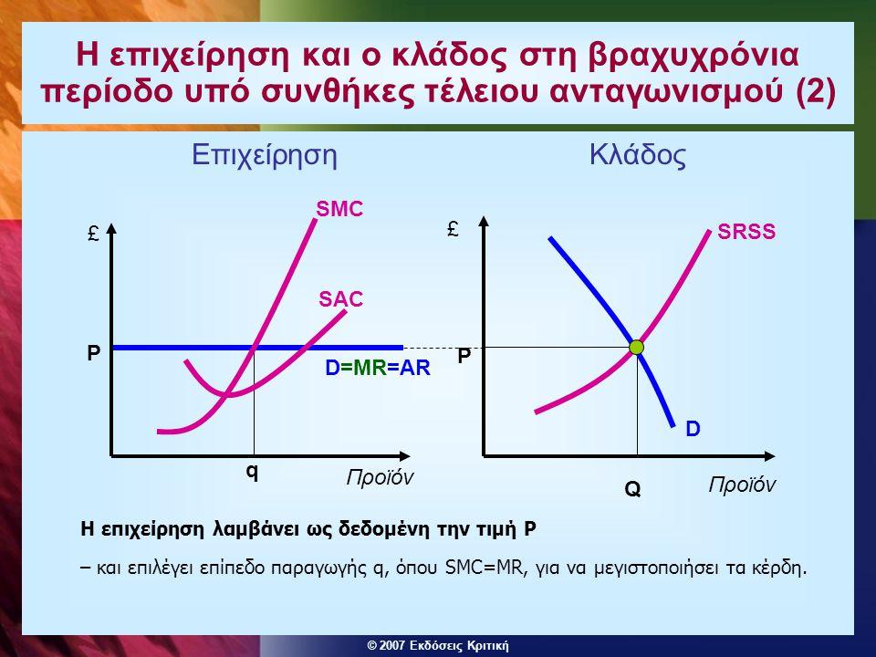 Η επιχείρηση και ο κλάδος στη βραχυχρόνια περίοδο υπό συνθήκες τέλειου ανταγωνισμού (2)