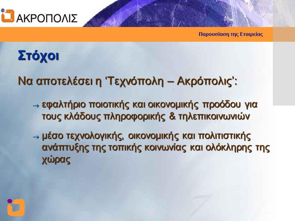 Στόχοι Να αποτελέσει η 'Τεχνόπολη – Ακρόπολις':