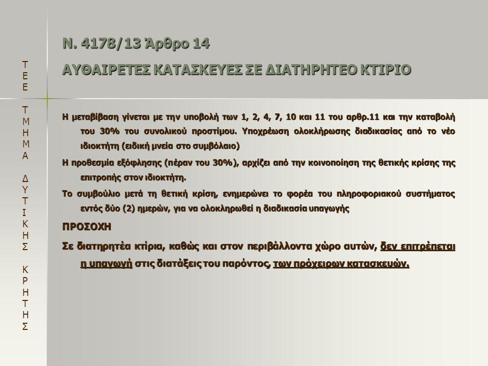 Ν. 4178/13 Άρθρο 14 ΑΥΘΑΙΡΕΤΕΣ ΚΑΤΑΣΚΕΥΕΣ ΣΕ ΔΙΑΤΗΡΗΤΕΟ ΚΤΙΡΙΟ