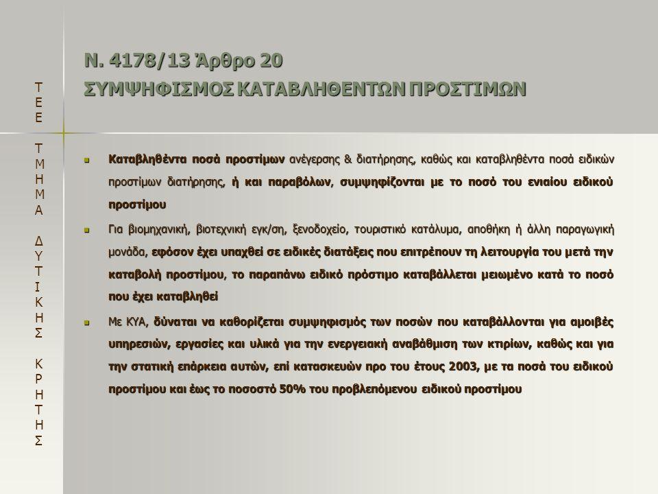 Ν. 4178/13 Άρθρο 20 ΣΥΜΨΗΦΙΣΜΟΣ ΚΑΤΑΒΛΗΘΕΝΤΩΝ ΠΡΟΣΤΙΜΩΝ