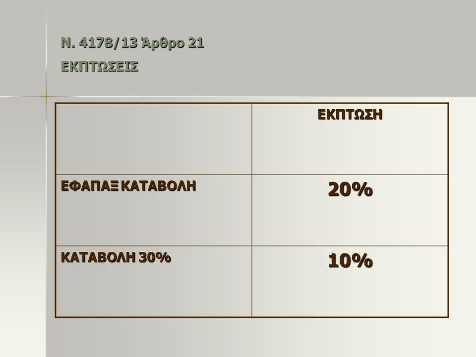 20% 10% Ν. 4178/13 Άρθρο 21 ΕΚΠΤΩΣΕΙΣ ΕΚΠΤΩΣΗ ΕΦΑΠΑΞ ΚΑΤΑΒΟΛΗ