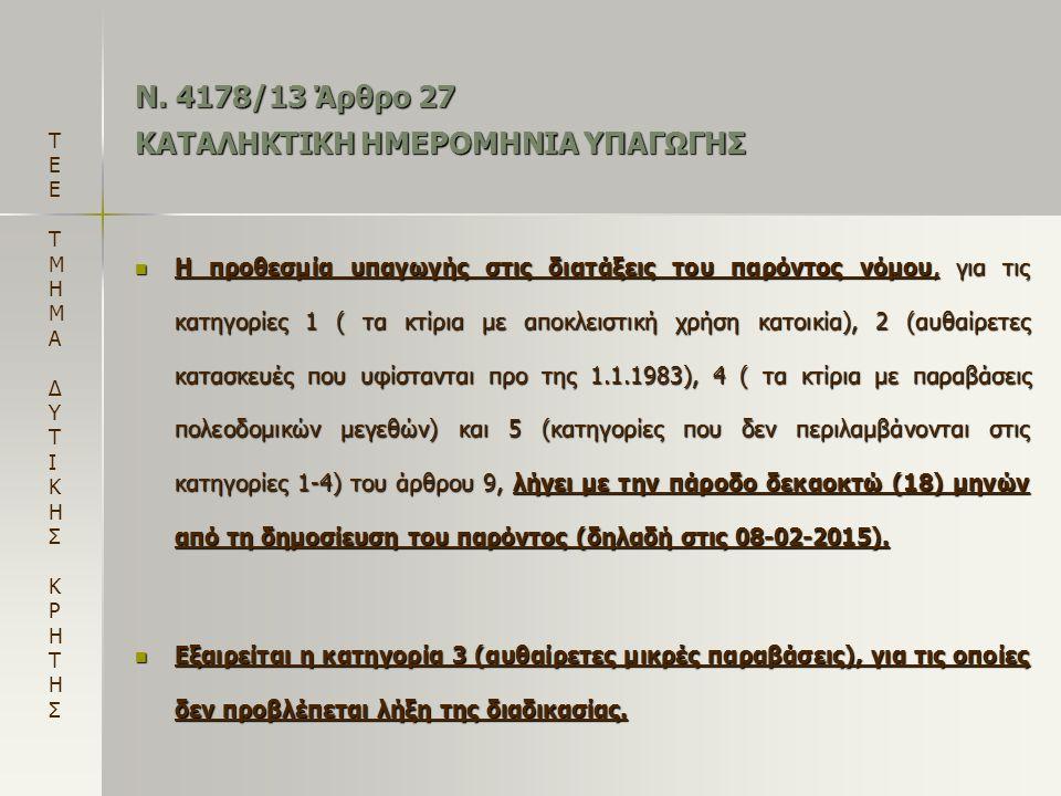 Ν. 4178/13 Άρθρο 27 ΚΑΤΑΛΗΚΤΙΚΗ ΗΜΕΡΟΜΗΝΙΑ ΥΠΑΓΩΓΗΣ