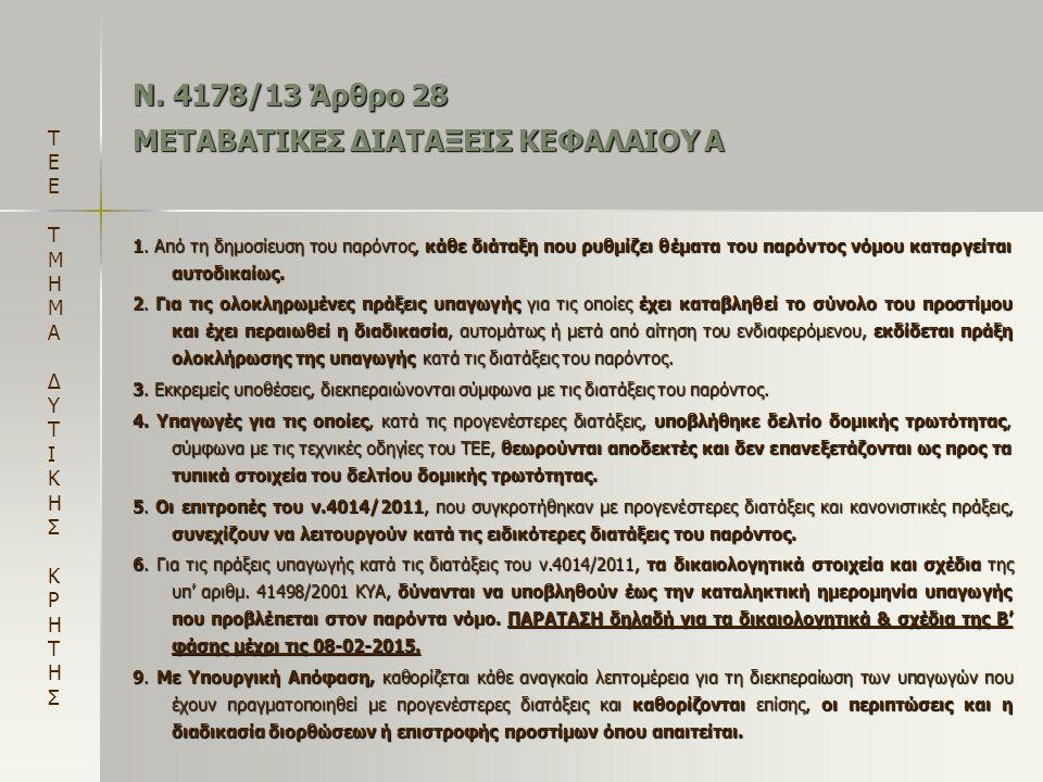 Ν. 4178/13 Άρθρο 28 ΜΕΤΑΒΑΤΙΚΕΣ ΔΙΑΤΑΞΕΙΣ ΚΕΦΑΛΑΙΟΥ Α