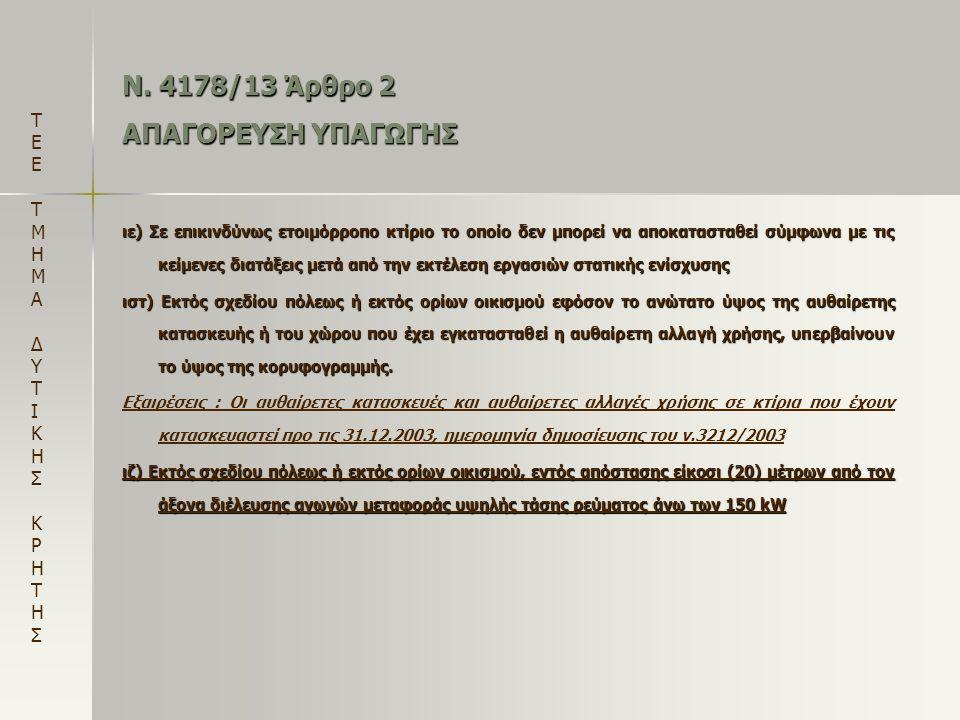 Ν. 4178/13 Άρθρο 2 ΑΠΑΓΟΡΕΥΣΗ ΥΠΑΓΩΓΗΣ