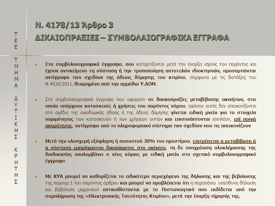 Ν. 4178/13 Άρθρο 3 ΔΙΚΑΙΟΠΡΑΞΙΕΣ – ΣΥΜΒΟΛΑΙΟΓΡΑΦΙΚΑ ΕΓΓΡΑΦΑ