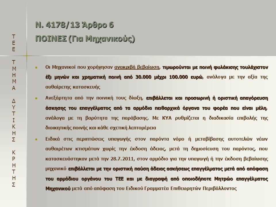 Ν. 4178/13 Άρθρο 6 ΠΟΙΝΕΣ (Για Μηχανικούς)