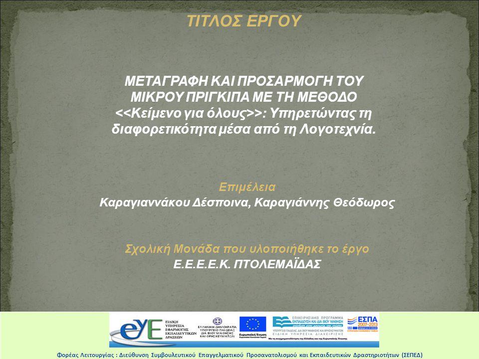 ΤΙΤΛΟΣ ΕΡΓΟΥ
