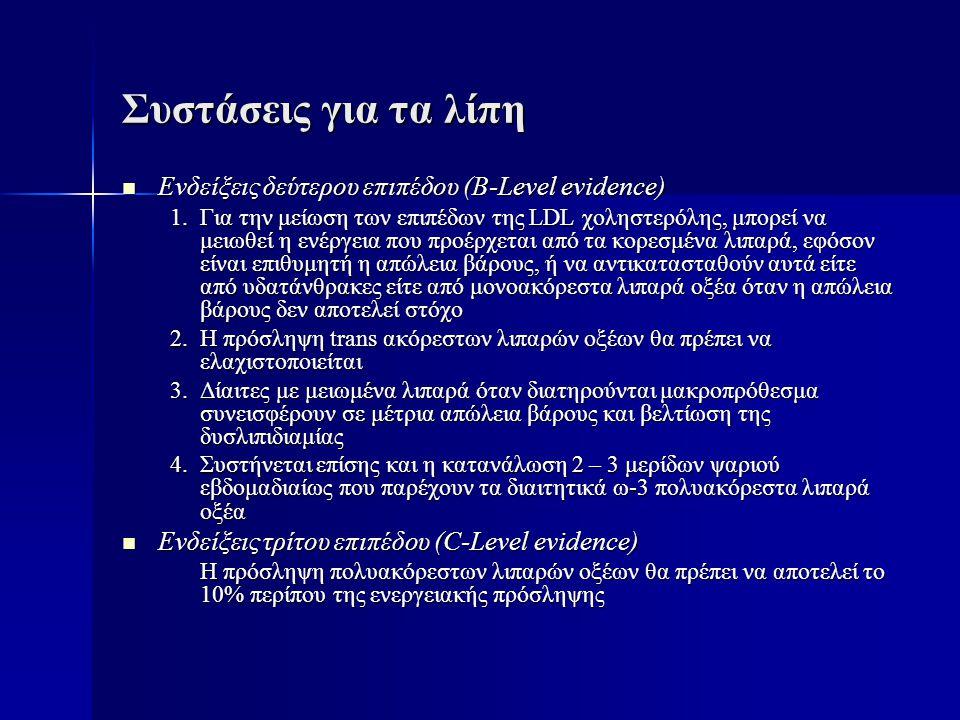 Συστάσεις για τα λίπη Ενδείξεις δεύτερου επιπέδου (B-Level evidence)
